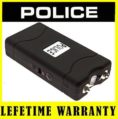 POLICE Stun Gun 800 BLACK - 6 BV Mini Rechargeable With LED Light + Case