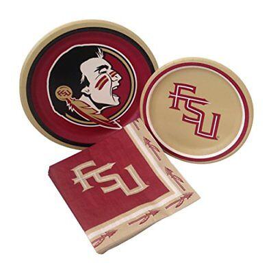 Florida State University Seminoles Dinner Dessert Paper Plates Napkins for 8 (Fsu Party Supplies)