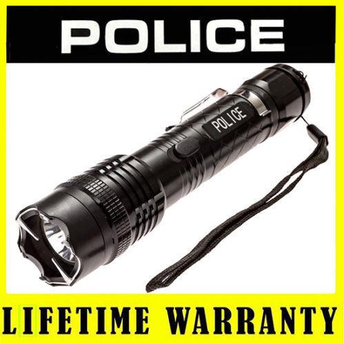POLICE METAL Stun Gun 1158 78 BV Rechargeable With LED Flashlight + Taser Case