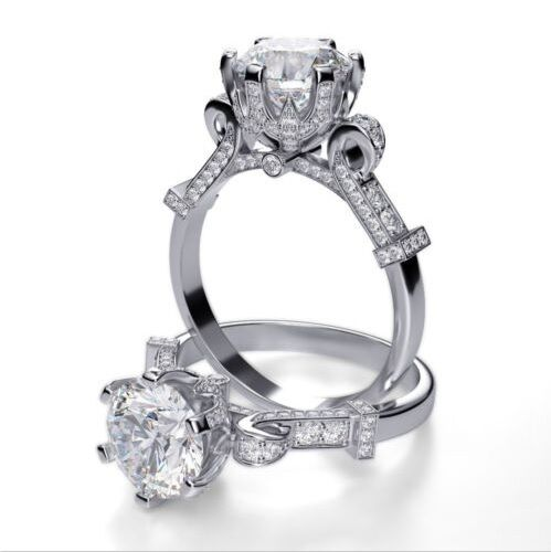 Lovely 1.70 Ct Round Cut Diamond Cinderella Engagement Ring Pave F,VS2 GIA 18K