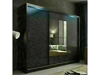 BERLIN 2 DOOR SLIDING WARDROBE WITH FULL MIRROR SAME DAY DELIVERY