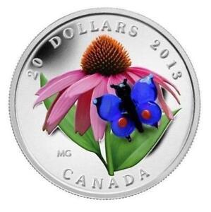 $20 Silver Coin Purple Coneflower with Venetian Glass Butterfly Regina Regina Area image 1