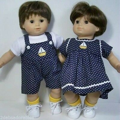 MATCHING SailBoat Dress Overall Doll Clothes For Bitty Baby Boy Girl Twins (Debs