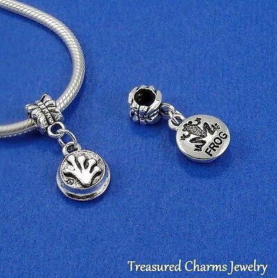 - Silver FROG Stamping Toad Amphibian Dangle Bead CHARM Fits EUROPEAN Bracelet