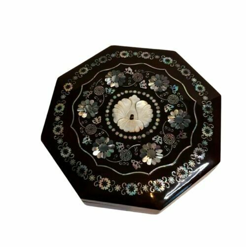 Vintage Octagon Lacquer Box With Mother Of Pearl Inlay Floral Design