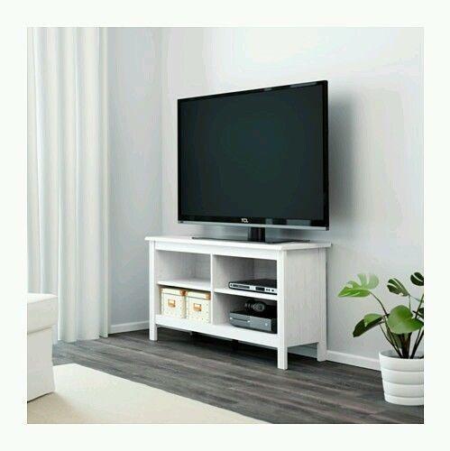 TV Stand White Entertainment Furniture Media Console Center