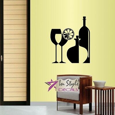 Plastic Sangria Glasses (Vinyl Decal Wine Bottle Glass Drinks Sangria Cocktails Winery Wall Decor)
