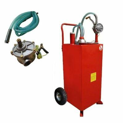 Wired Hose 30 Gallon Gas Tank Storage Drum Gasoline Transfer Caddy