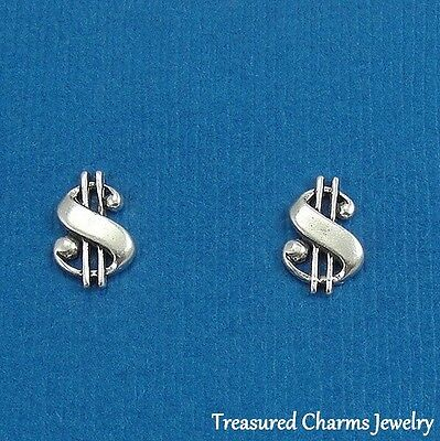 .925 Sterling Silver DOLLAR SIGNS Money Gambling Casino Post Stud EARRINGS ()