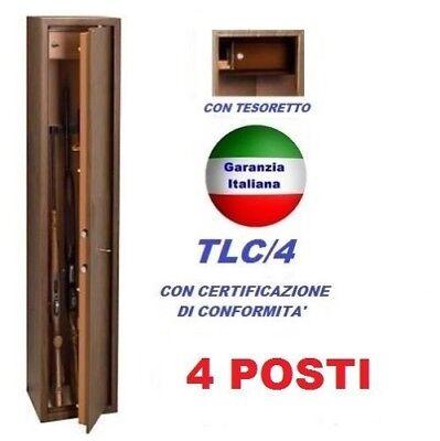 ARMADIETTO PORTA FUCILI FUCILIERA ACCIAIO BLINDATO TECHNOMAX 4 POSTI FIN.LEGNO