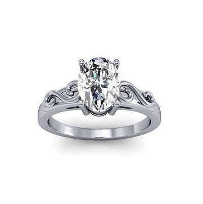 1.5 Ct. Natural Oval Cut Diamond Solitaire Scroll Design Engagement Ring - GIA