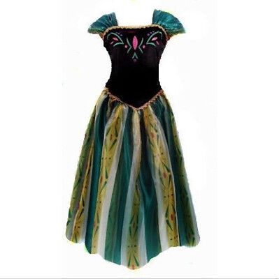 Adult  Womens Girls  Anna Costume Cosplay Party Gown Fancy Dress - Anna Costume Adults