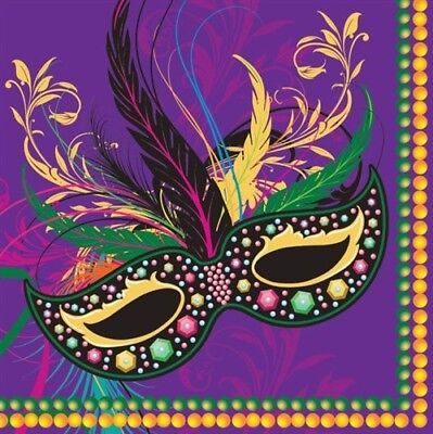 Mardi Gras Napkins (Mardi Gras Masks Lunch Napkins 16 pack Mardi Gras Paper Plates and)