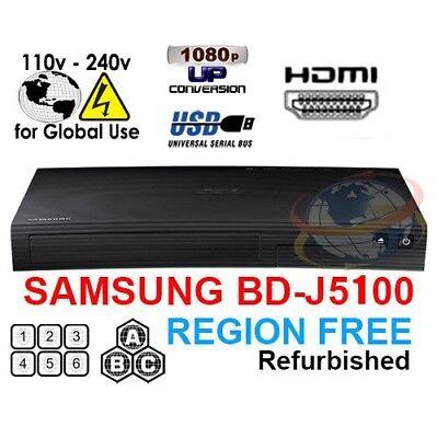 Samsung BD-J5100 Multi Zone All Region Free Blu-Ray DVD Disc Player REFURBISHED