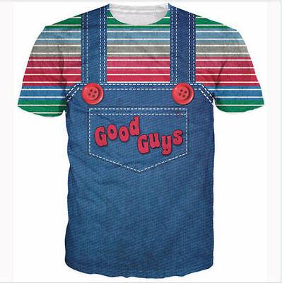 Halloween Guys (Newest Womens/Mens halloween Chucky good guys bib 3D print Casual T-Shirt)