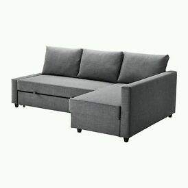Ikea Grey Friheten Corner Sofa Bed with storage