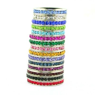 Stackable Cubic Zirconia Band - Birthstone Cubic Zirconia Eternity Comfort Fit Stainless Steel Stackable Band