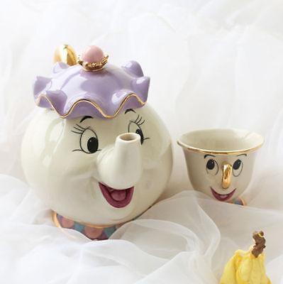 HOT Cartoon Beauty And The Beast Teapots Mug Mrs. Potts Chip Tea Pot and Cup Set