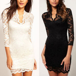 STUNNING-NEW-VINTAGE-V-NECK-LACE-LINED-COCKTAIL-DRESS-FULL-LENGTH-SLEEVES