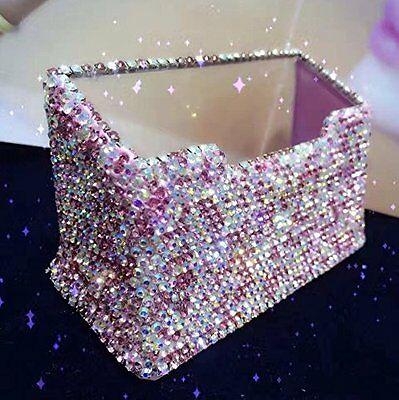 Bling Sparkle Diamond Crystal Decorative Business Card Holder For Office Deskus
