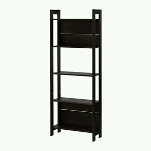 Foldable Bookcase Black Shelf 5 Bookshelf Wood Furniture Storage Organizer  New