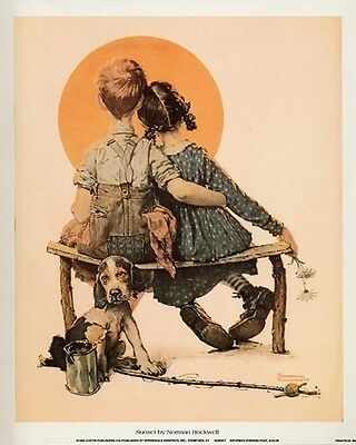 Norman Rockwell -  Sunset: The Little Spooners