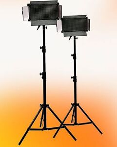 2-x-500-LED-Light-Panel-Video-Photography-Stands-Kit