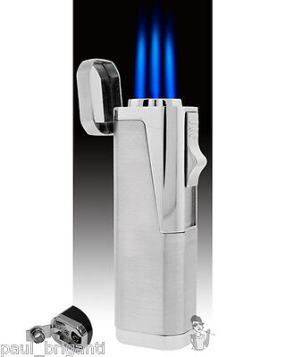 JetLine Hurricane Triple Torch Cigar Lighter Silver on Rummage
