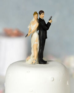 Super Sexy Spy with Gun Cute Funny Bride and Groom Wedding Cake Topper Figurine