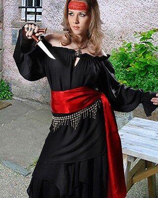 Pirate Shirt Women Adult Sizes Rayon S/M - XXXL, 8 Colors NEW  (C1018)