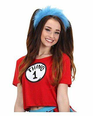 elope Women's Dr. Seuss Thing 1 and 2 Crop Top Costume Kit (Large/X-Large)