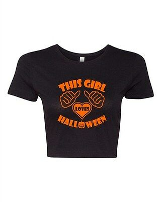 Crop Top Ladies This Girl Loves Halloween Costume Funny Humor T-Shirt Tee