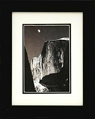 FRAMED moon and half dome by Ansel Adams BW photograph 10x8 Matted Art Print ()