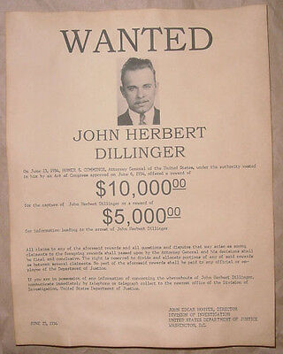 John Dillinger Wanted Poster, Gangster, Outlaw, Bank Robber
