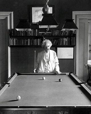 Mark Twain #1 Photo - Playing Pool Billiards B&W