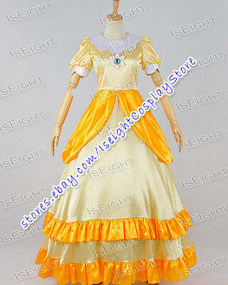 Super Mario Bros Cosplay Princess Daisy Costume Halloween Yellow Girl Dress Cute (Cute Mario Bros Halloween)