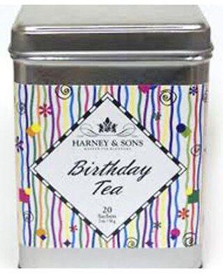 Harney & Sons BIRTHDAY Tea Tin 20 Ct Silken Sachets Great -