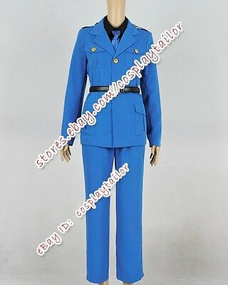 Axis Powers Hetalia Cosplay Italy Military Party Uniform Halloween Blue Costume