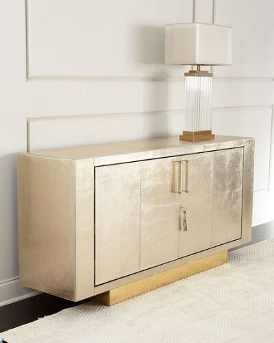 Lunaria Two Door Golden Leather Buffet Horchow Neiman Marcus