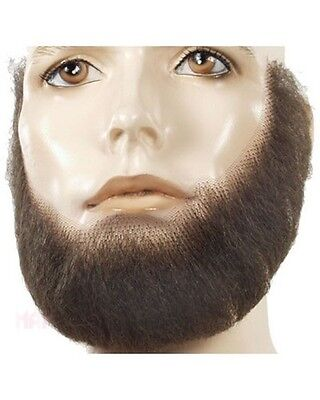 HUMAN HAIR FULL FACE CHARACTER LINCOLN COSTUME BEARD TOUPEE TAPE BLACK BROWN - Black Character Costumes