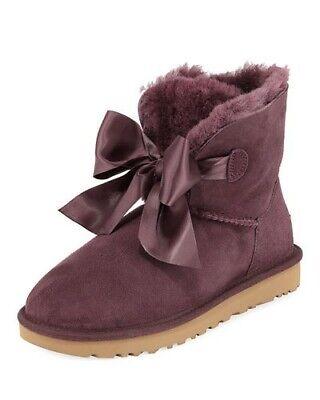 UGG Australia Women's Gita Bow Mini Purple Suede Boots Size 8 US