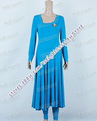 Star Trek Commander Deanna Troi Blue Long Dress Costume Halloween Great Quality - Star Trek Blue Dress