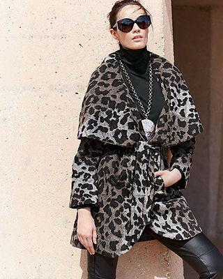 BNWT Tahari Marla Leopardo Envuelva Lana Grande Abrigo Cuello Chal XS