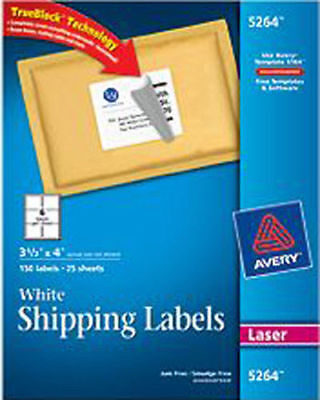 Avery White Laser Shipping Labels 3 13 X 4 Box Of 150