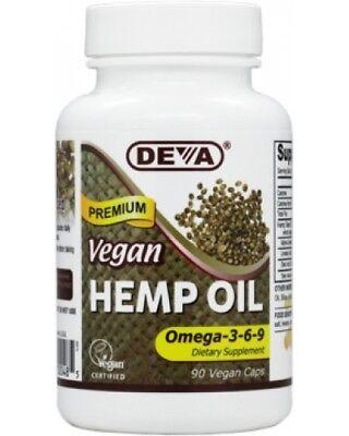 Deva Vegan Hemp Oil, Omega 3 - 6 - 9, 90caps, BEST BY