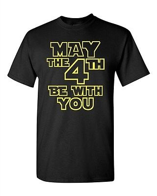 Adult Black May The 4Th Be With You Forth Force Dark Side Funny T Shirt Tee