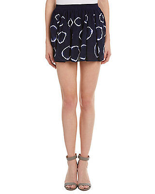 OLIVACEOUS Anthropologie Navy Tie Dye A Line Chic Mini Skirt Size L (Chic Tie Dye Skirt)