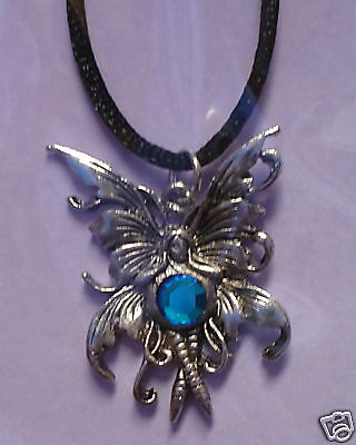 Amy Brown Faceted Blue Crystal Gem Fairy Sprite Bubble Rider Necklace Pewter