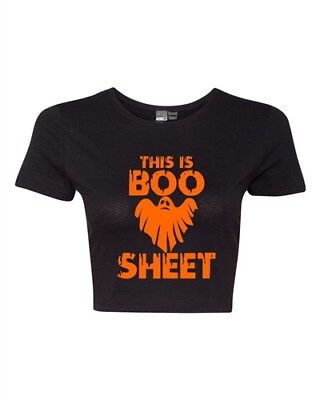 Crop Top Ladies This is Boo Sheet Funny Halloween Costume Then T-Shirt Tee