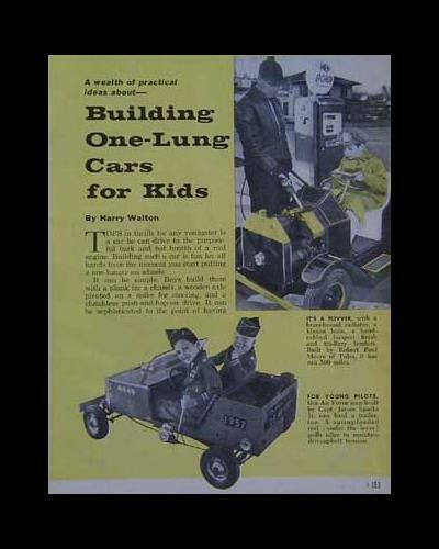 One-Lung Sidewalk Car How-To Build INFO ideas PLANS 1959